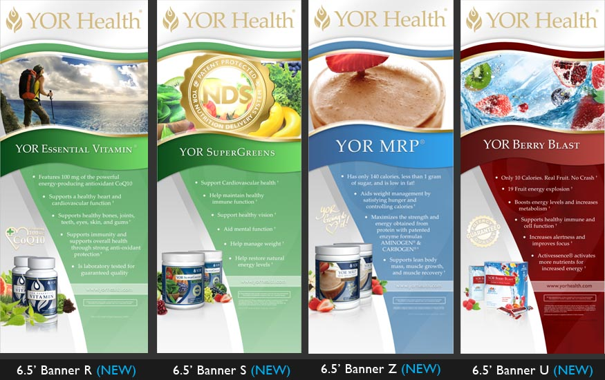 YOR Health 6.5 foot banners selection2
