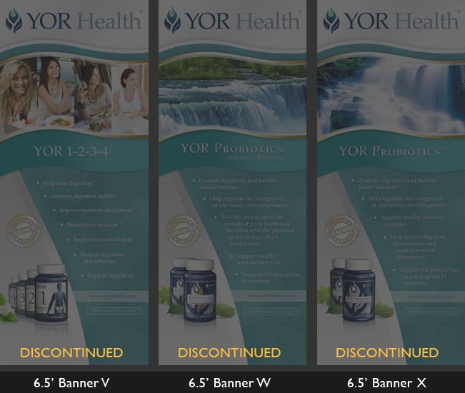 YOR Health 6.5 foot banners selection6